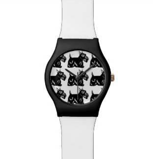Scottie Dogs Pattern Black and White Wristwatch