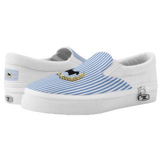 Scottie & Wreath Railroad Stripe Personalize Slip-On Shoes