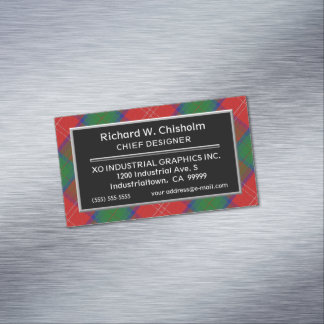 Scottish Accent Clan Chisholm Tartan Magnetic Business Cards
