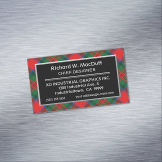 Scottish Accent Clan MacDuff Tartan Magnetic Business Cards