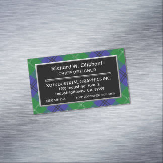 Scottish Accent Clan Oliphant Tartan Magnetic Business Cards