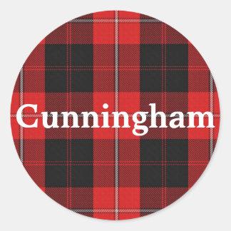 Scottish Clan Cunningham Tartan Plaid Classic Round Sticker