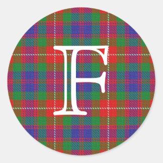 Scottish Clan Fraser of Lovat Tartan With Monogram Classic Round Sticker