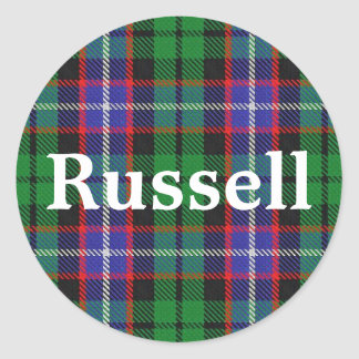 Scottish Clan Russell Tartan Plaid Classic Round Sticker