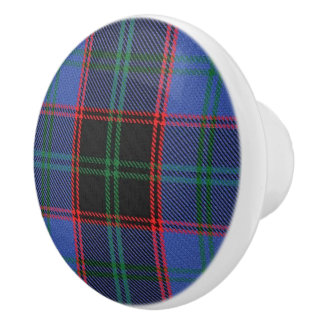 Scottish Grandeur Clan Home Hume Tartan Plaid Ceramic Knob