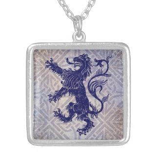 Scottish Rampant Lion Navy Blue Celtic Knot Silver Plated Necklace