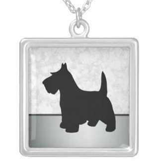 Scottish Terrier Black Scottie Dog Pet Silver Plated Necklace