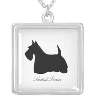 Scottish Terrier dog black silhouette necklace