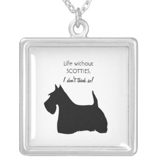 Scottish Terrier dog black silhouette necklace