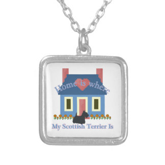 Scottish Terrier Home is Silver Plated Necklace