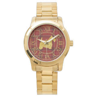 Scottish Terrier in Gold Red Plaid Watch