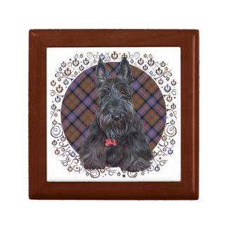 Scottish Terrier on Tartan Gift Box