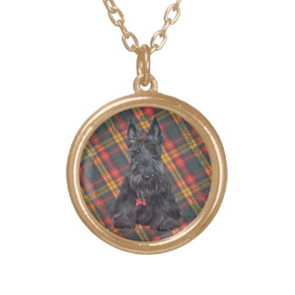 Scottish Terrier on Tartan Gold Plated Necklace