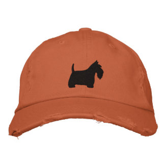 Scottish Terrier Silhouette with Text Baseball Cap