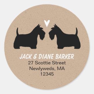 Scottish Terrier Silhouettes Return Address Round Sticker