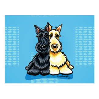 Scottish Terriers Two of a Kind Postcard