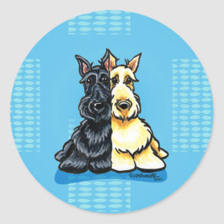 Scottish Terriers Two of a Kind Round Sticker