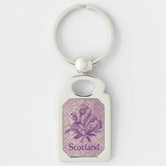 Scottish Thistle Purple Celtic Knot Key Ring