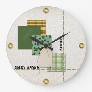 Scrapbook Paper, Tag, Cord, Stitching, and Rivets Clock