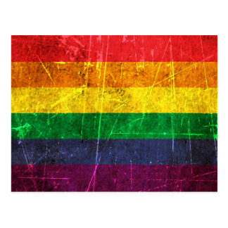 Scratched and Worn Vintage Gay Pride Rainbow Flag Postcard