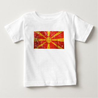 Scratched and Worn Vintage Macedonian Flag Baby T-Shirt