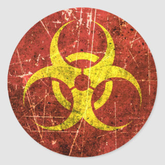 Scratched and Worn Yellow and Red Biohazard Symbol Classic Round Sticker