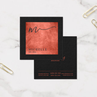 Scratched Metal Square Monogram Salmon ID449 Square Business Card