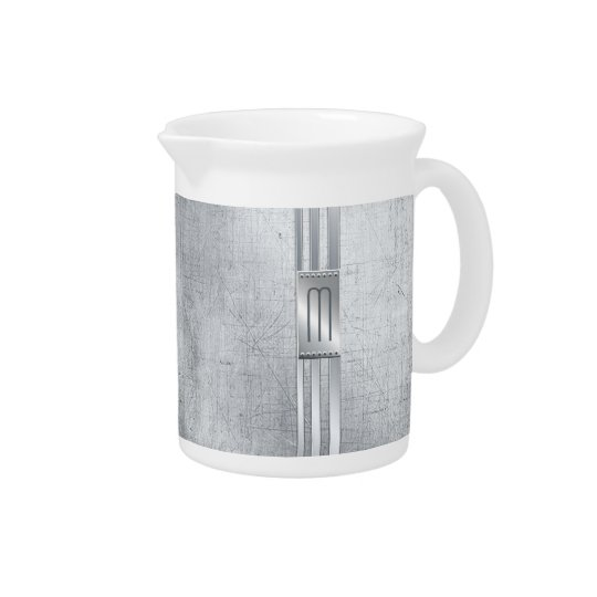 Scratched Metal Stripes Monogram Blue ID443 Pitcher