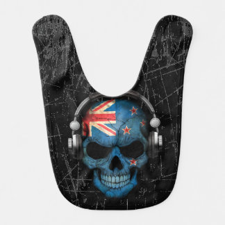Scratched New Zealand Dj Skull with Headphones Baby Bibs