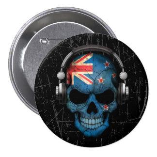 Scratched New Zealand Dj Skull with Headphones 7.5 Cm Round Badge
