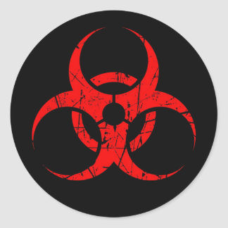 Scratched Red Biohazard Symbol on Black Classic Round Sticker