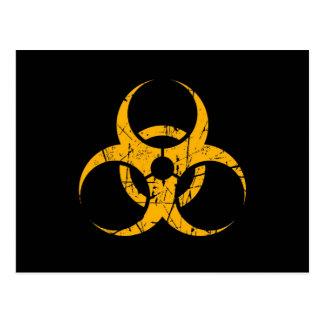 Scratched Yellow Biohazard Symbol on Black Postcard