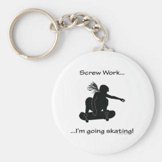 Screw Work...Going Skating (for women) Key Ring
