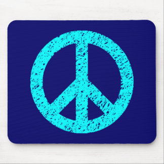 Scribble Stencilled Peace Symbol - Cyan on Dp Navy Mouse Pad