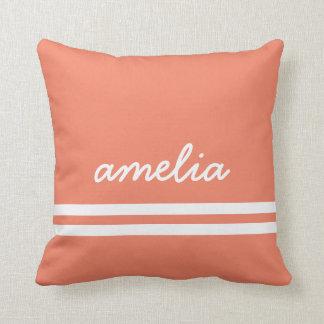 Scribble Stripes Name Monogram White Peach Throw Pillow