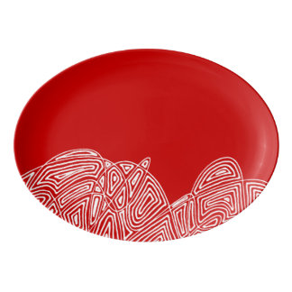 Scribbleprint Flurry - Red Porcelain Serving Platter