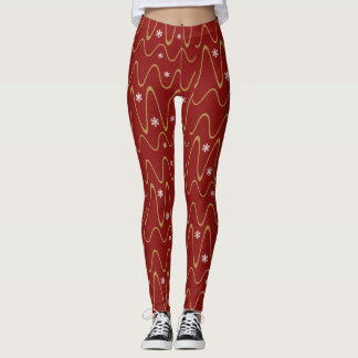Scribbles & Snowflakes, Holiday gold on crimson Leggings