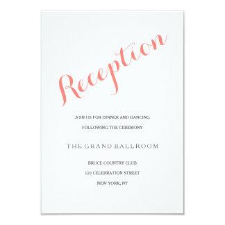 Script Coral Pink | Reception Enclosure Card 9 Cm X 13 Cm Invitation Card