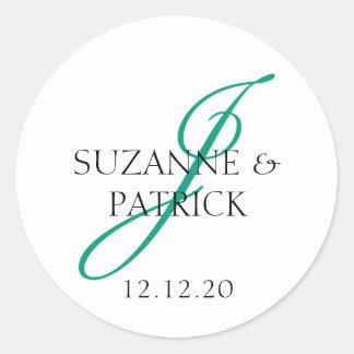 Script J Monogram Labels (Emerald / Black) Round Sticker