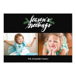 Script Season's Greetings Paper Holiday Photo Card 13 Cm X 18 Cm Invitation Card