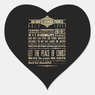 Scriptural Bible Verse - Colossians 3:12-13 Heart Sticker
