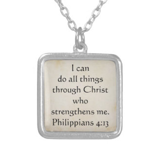 scripture Philippians 4:13 Silver Plated Necklace