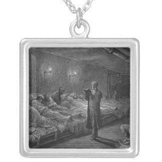 Scripture Reader in a Night Refuge Silver Plated Necklace