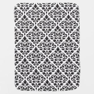 Scroll Damask Big Pattern Black on White Baby Blanket