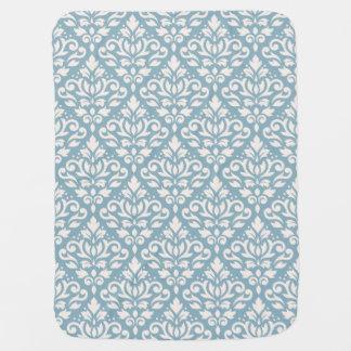 Scroll Damask Big Pattern Cream on Blue Baby Blanket
