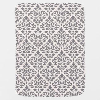 Scroll Damask Big Pattern Grey on Cream Baby Blanket