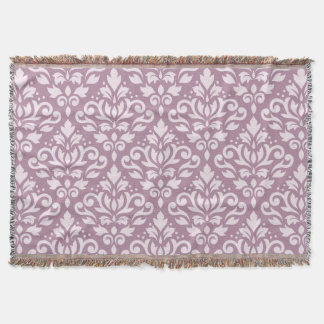 Scroll Damask Big Pattern Pink on Mauve Throw Blanket