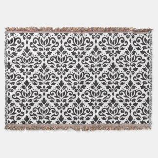 Scroll Damask Pattern Black on White Throw Blanket