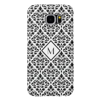 Scroll Damask Ptn Black on White (Personalized) Samsung Galaxy S6 Cases
