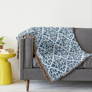 Scroll Damask Ptn Dk Blue on White Throw Blanket